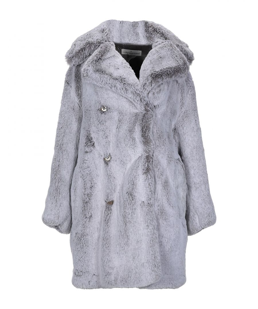 Image for Golden Goose Deluxe Brand Light Grey Faux Fur Double Breasted Coat
