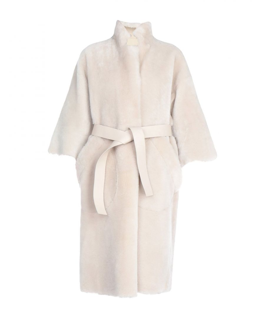 Image for Rochas Light Grey Sheepskin Belted Coat