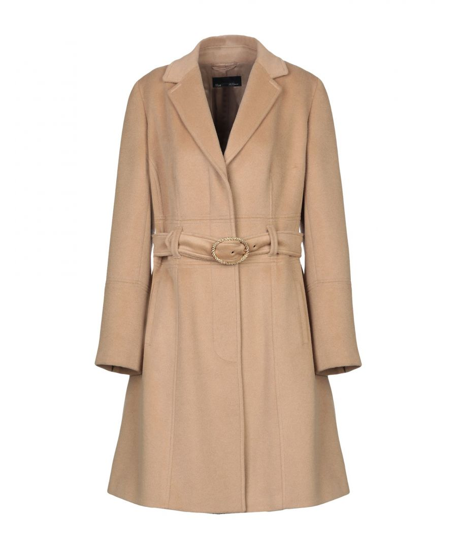 Image for Blue Les Copains Camel Angora Belted Overcoat
