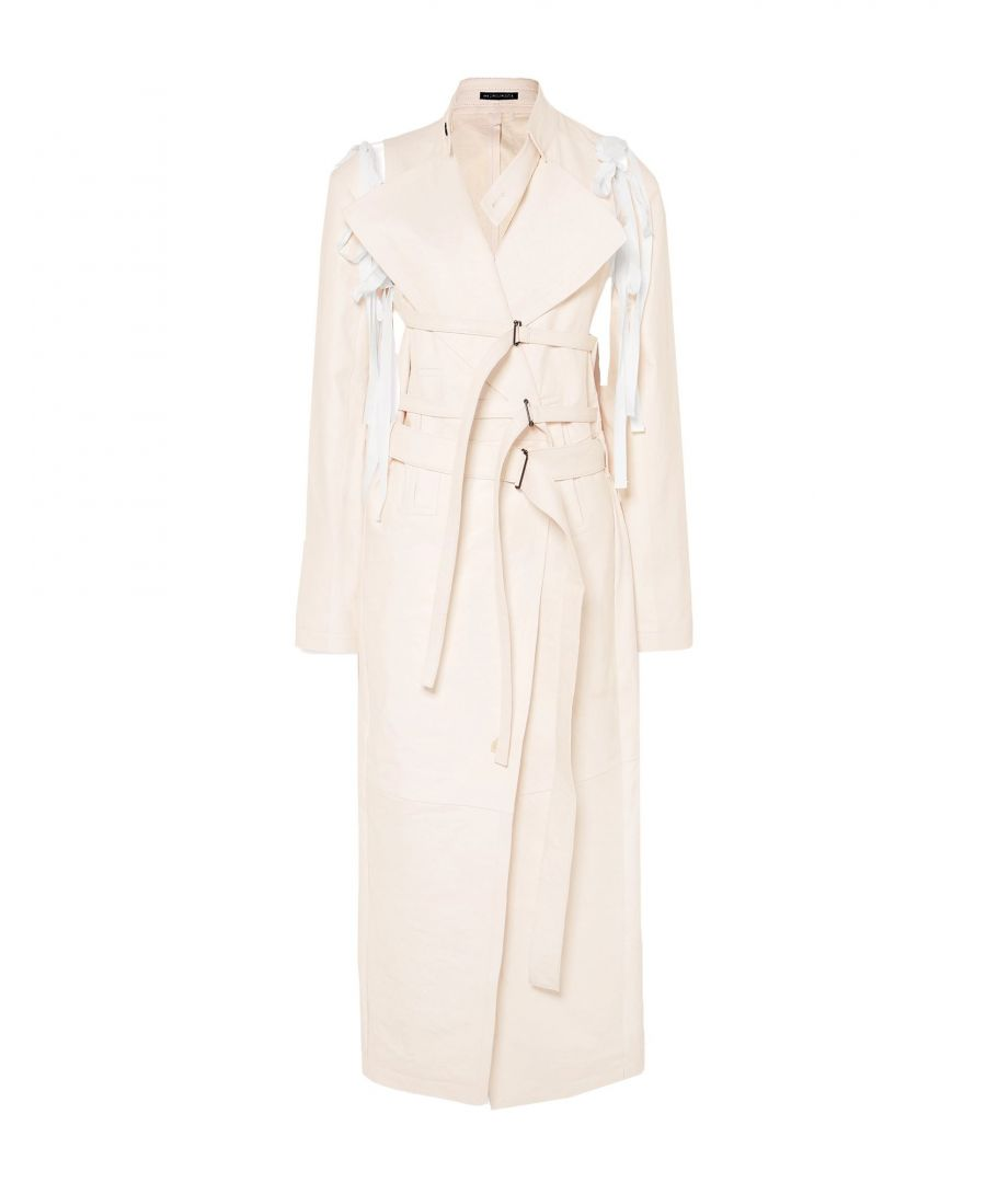 Image for Ann Demeulemeester Ivory Leather Belted Overcoat