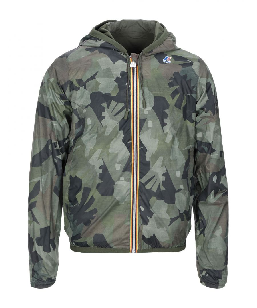 Image for K-Way Military Green Techno Fabric Hooded Jacket