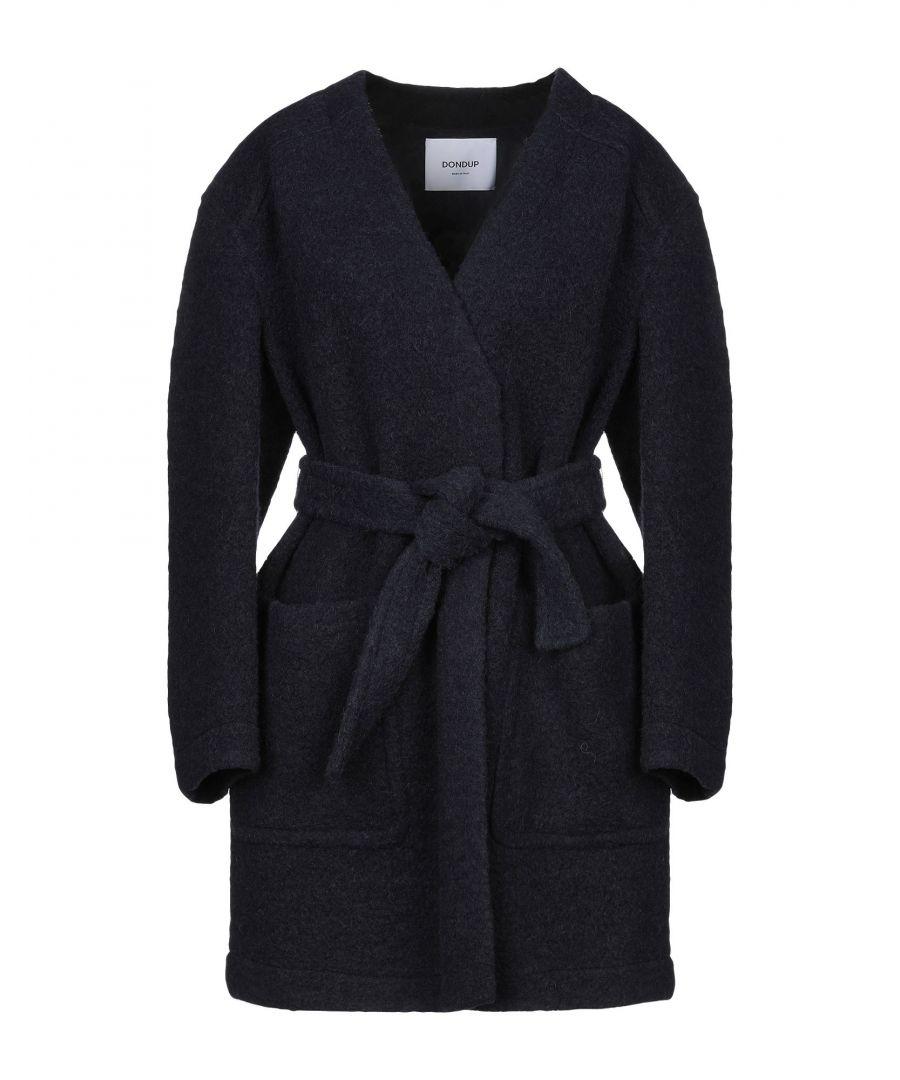 Image for Dondup Dark Blue Virgin Wool Belted Coat
