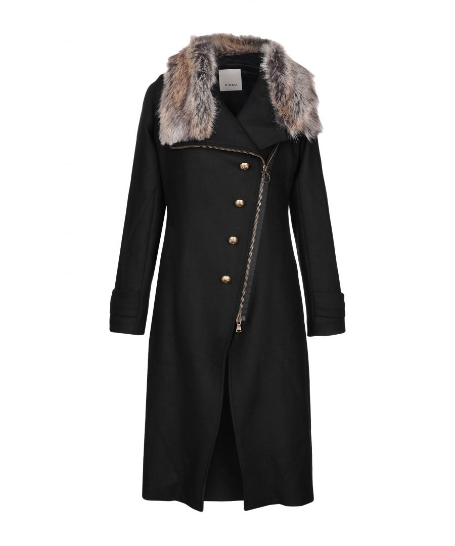 Image for Pinko Black Wool And Faux Fur Coat