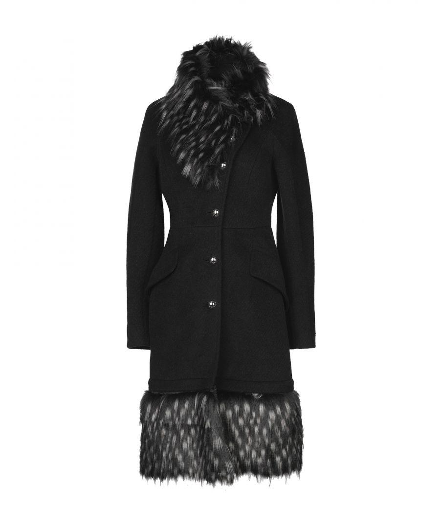 Image for Just Cavalli Black Virgin Wool Faux Fur Collar Coat