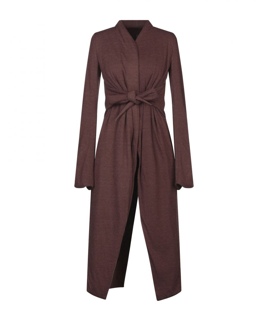 Image for Rick Owens Lilies Cocoa Jersey Tie Front Coat