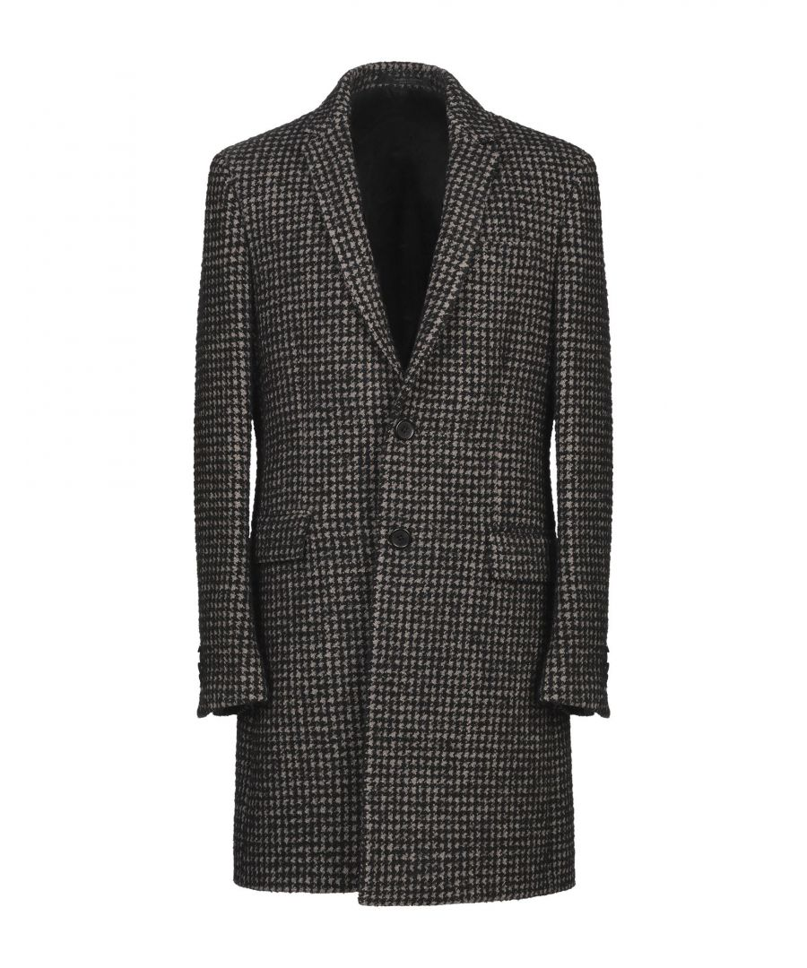 Image for Messagerie Black Cotton Houndstooth Overcoat