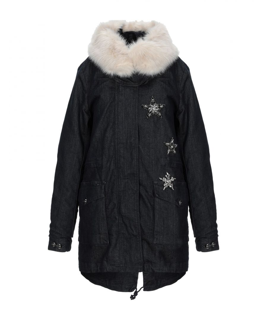 Image for Liu Jo Blue Cotton Coat With Faux Fur Trim