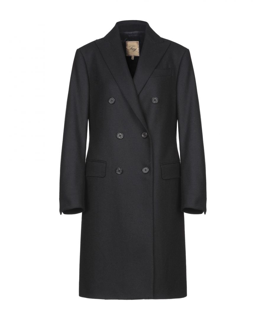 Image for Fay Black Wool Double Breasted Overcoat