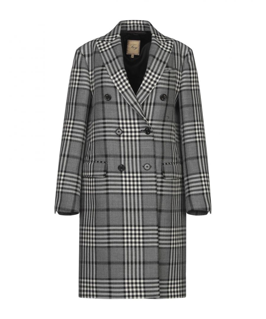 Image for Fay Grey Tartan Virgin Wool Overcoat