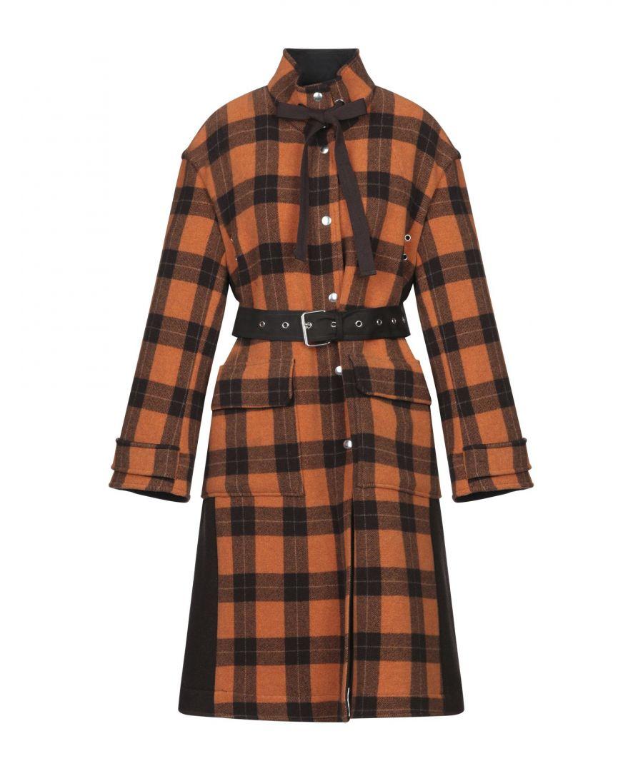 Image for Dondup Orange Check Wool Belted Coat