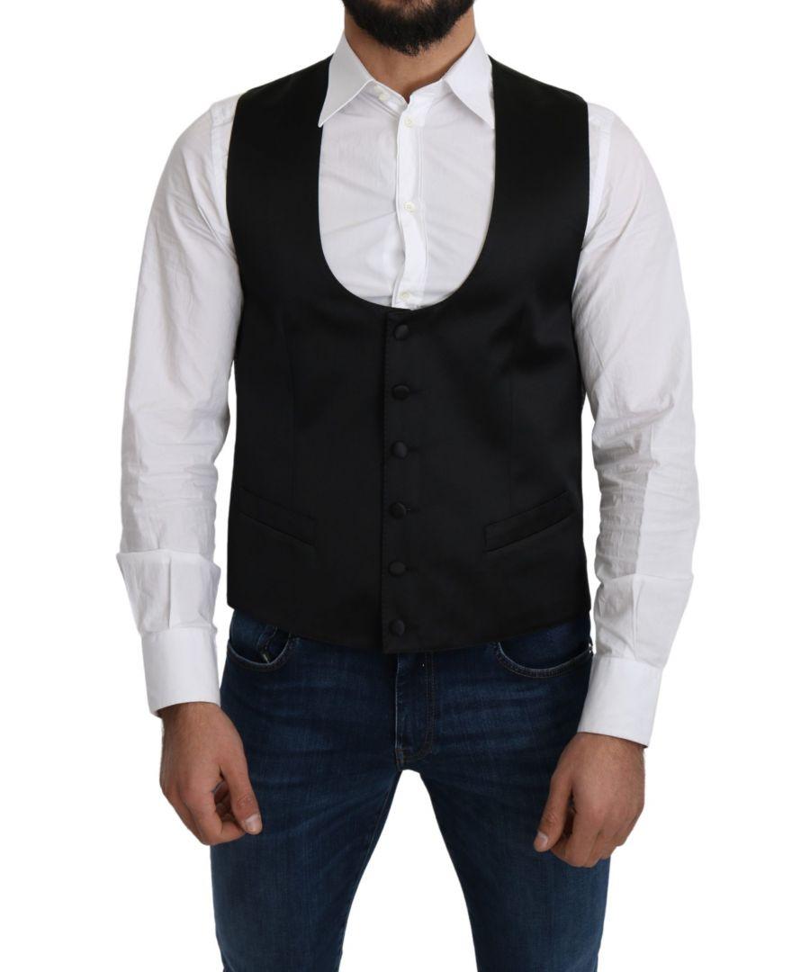 Image for Dolce & Gabbana Black 100% Silk Formal Waist Coat Vest