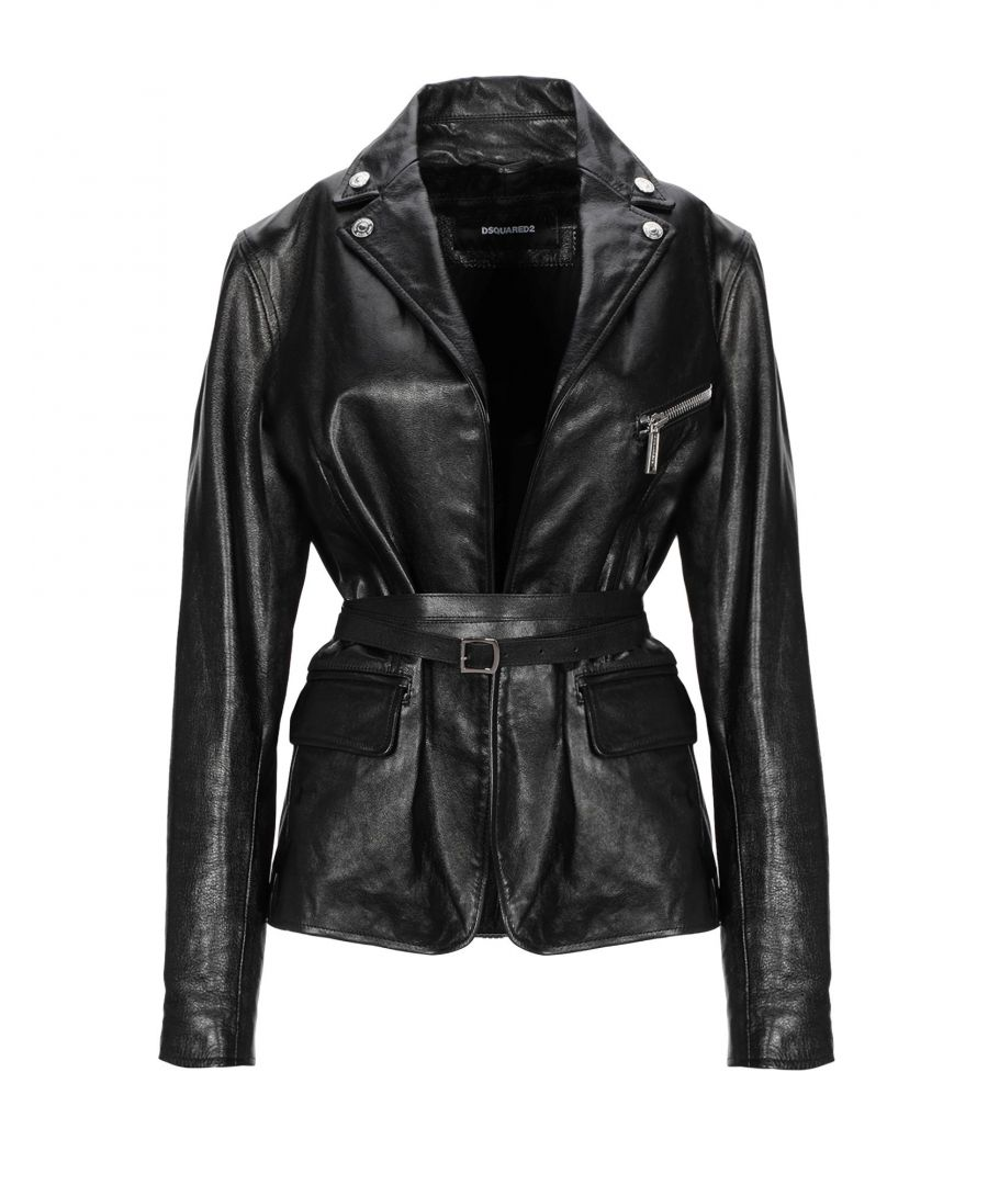 Image for Dsquared2 Black Leather Belted Jacket