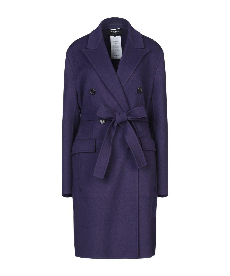 Image for Rochas Purple Virgin Wool Belted Overcoat