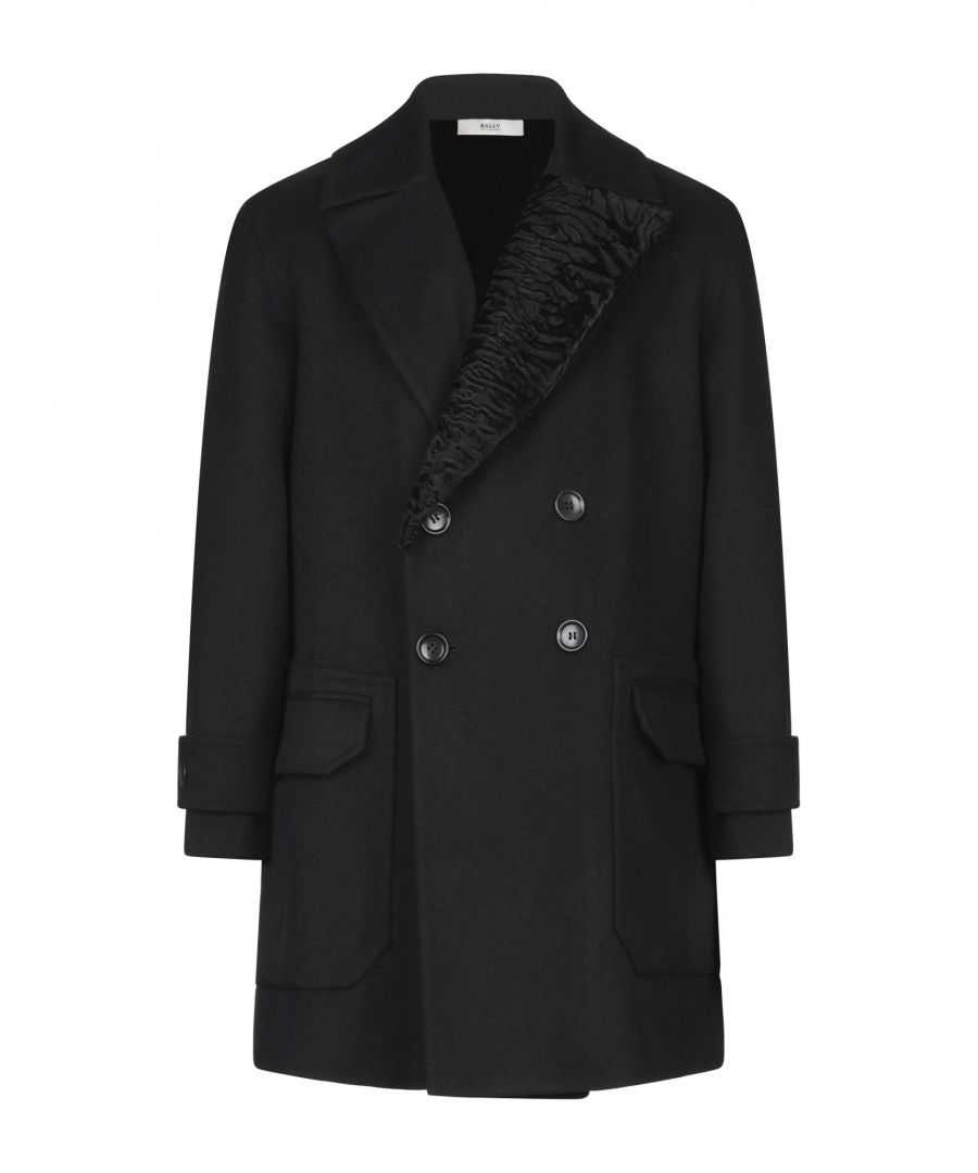 Image for Bally Black Virgin Wool Double Breasted Coat