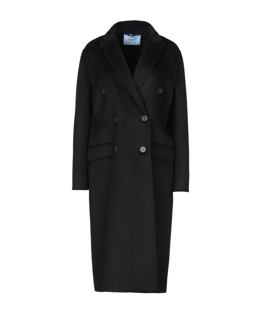 Image for Prada Black Virgin Wool Double Breasted Overcoat