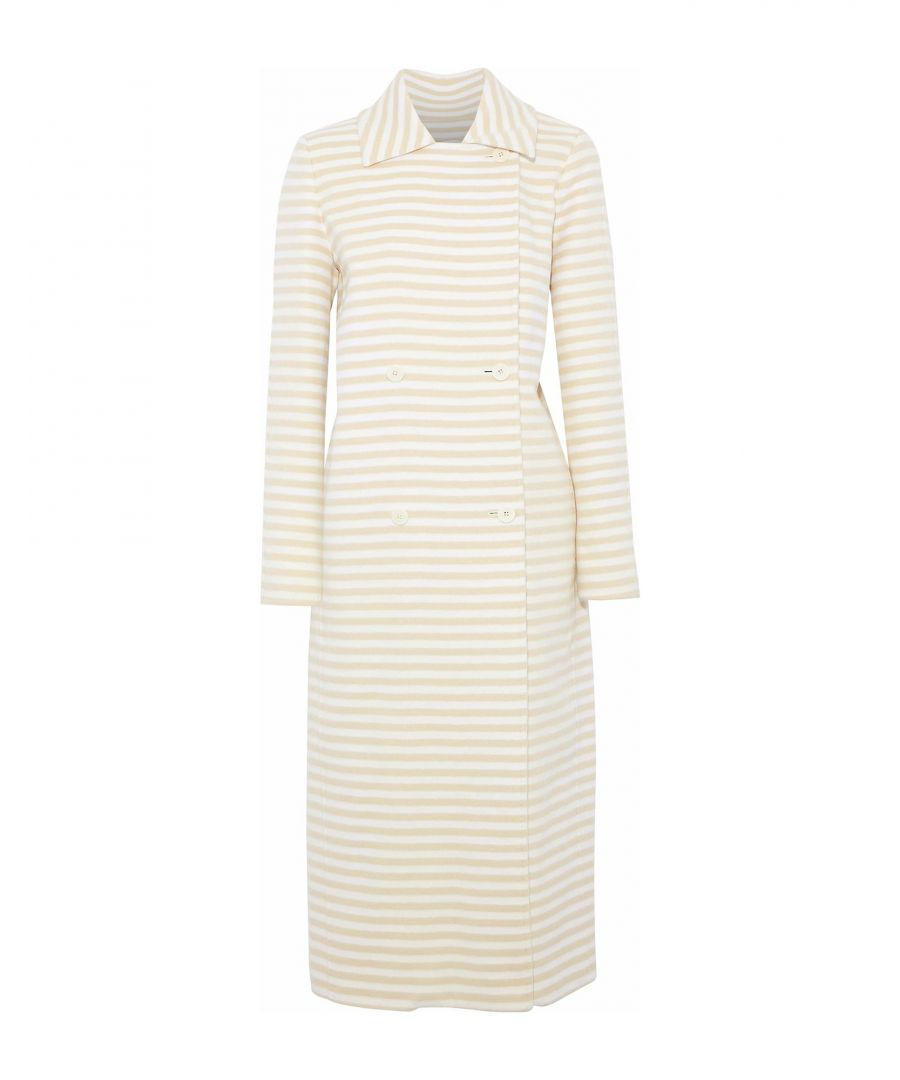 Image for Max Mara Beige Stripe Virgin Wool Overcoat