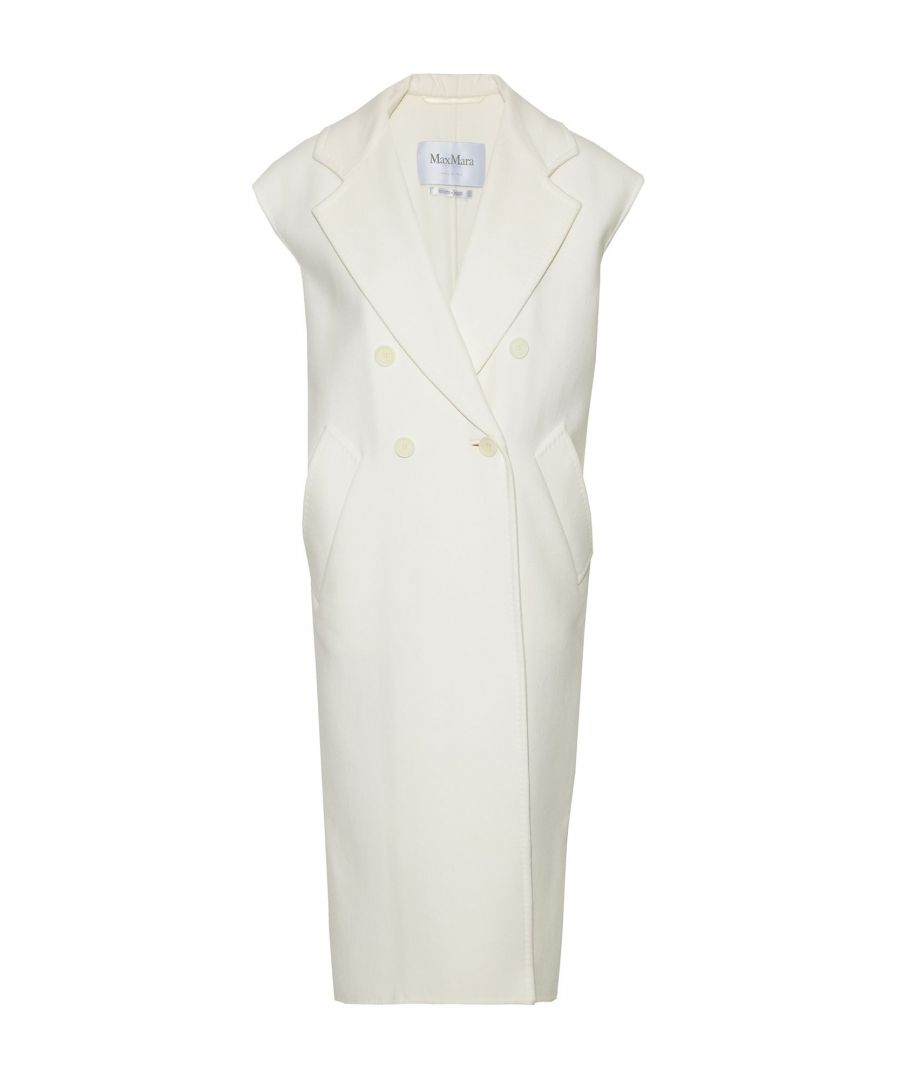Image for Max Mara Ivory Virgin Wool Sleeveless Double Breasted Coat