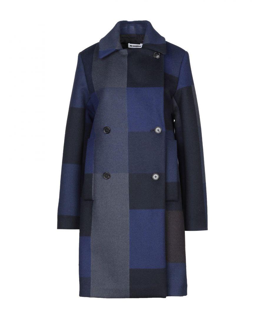 Image for Jil Sander Dark Blue Check Virgin Wool Overcoat
