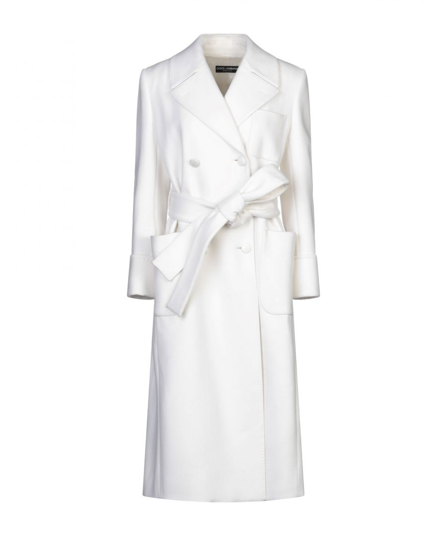 Image for Dolce & Gabbana White Wool Belted Double Breasted Overcoat