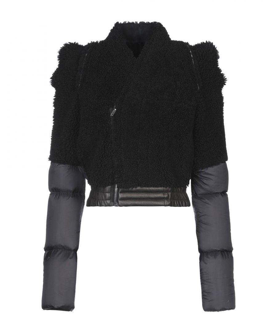 Image for Rick Owens Black Sheepskin And Techno Fabric Padded Jacket