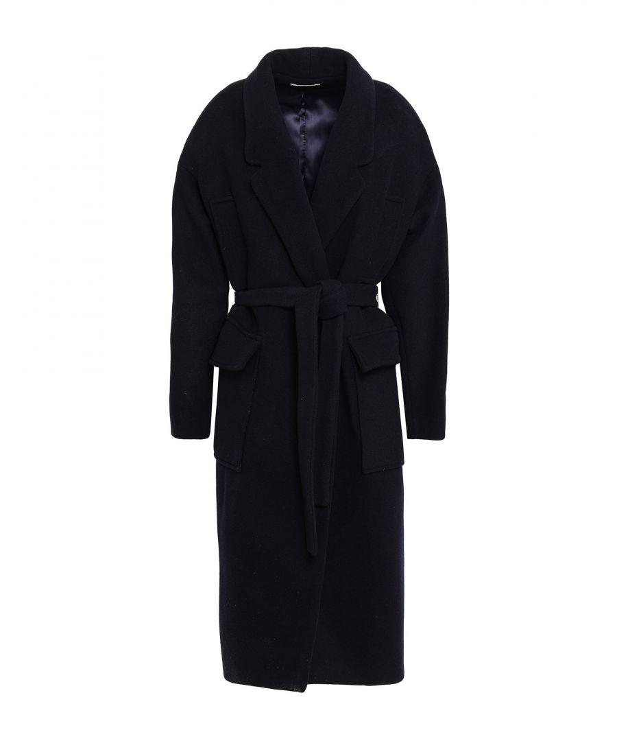 Image for Ba&Sh Dark Blue Angora Belted Coat