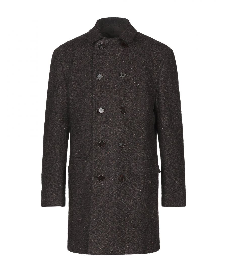 Image for Kiton Dark Brown Cashmere Tweed Double Breasted Overcoat