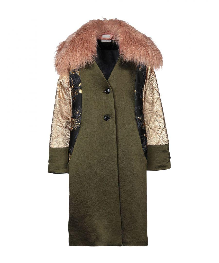 Image for Dries Van Noten Military Green Wool Overcoat