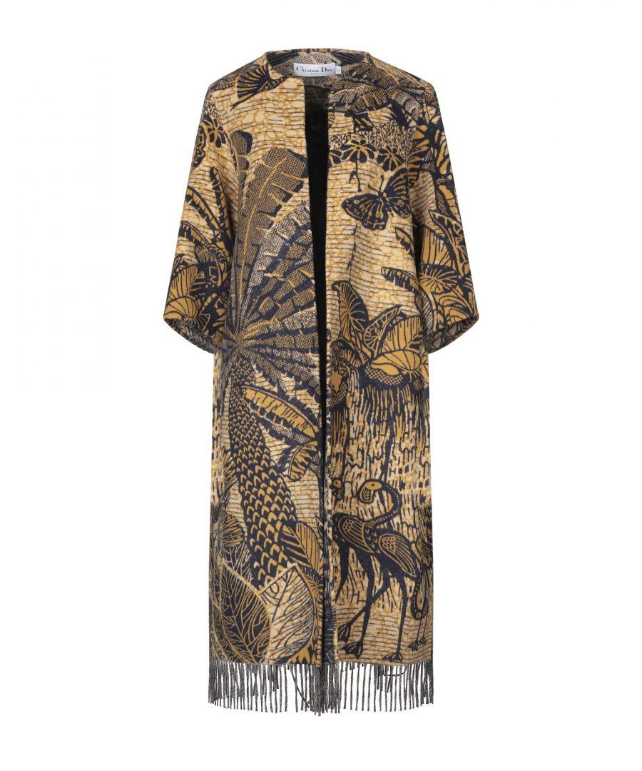 Image for Dior Ochre Wool Floral Design Fringed Coat
