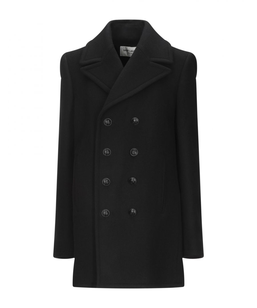 Image for Saint Laurent Black Virgin Wool Double Breasted Coat
