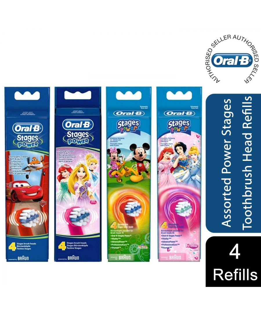 Image for Oral-B Stages Power Kids Toothbrush Replacement, 4 Refills (Assorted)