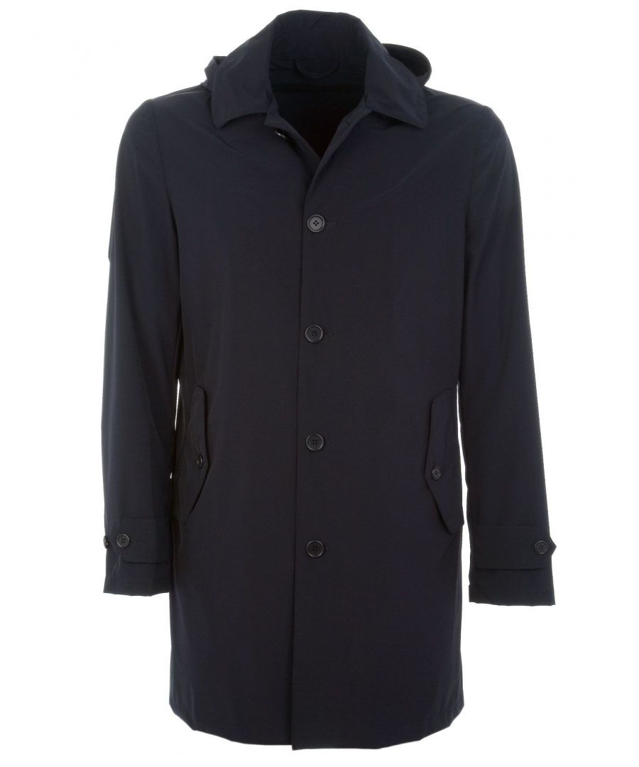 Image for ASPESI MEN'S I417G0061101 BLUE POLYAMIDE COAT
