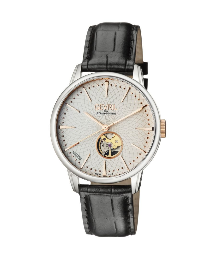 Image for Gevril 9601 Mulberry Stainless Steel, Black Croco, Leather Strap