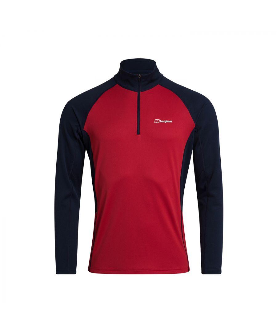 Image for Berghaus Tech 2.0 1/2 Zip Mens Long Sleeve T-Shirt Red/Blue - L