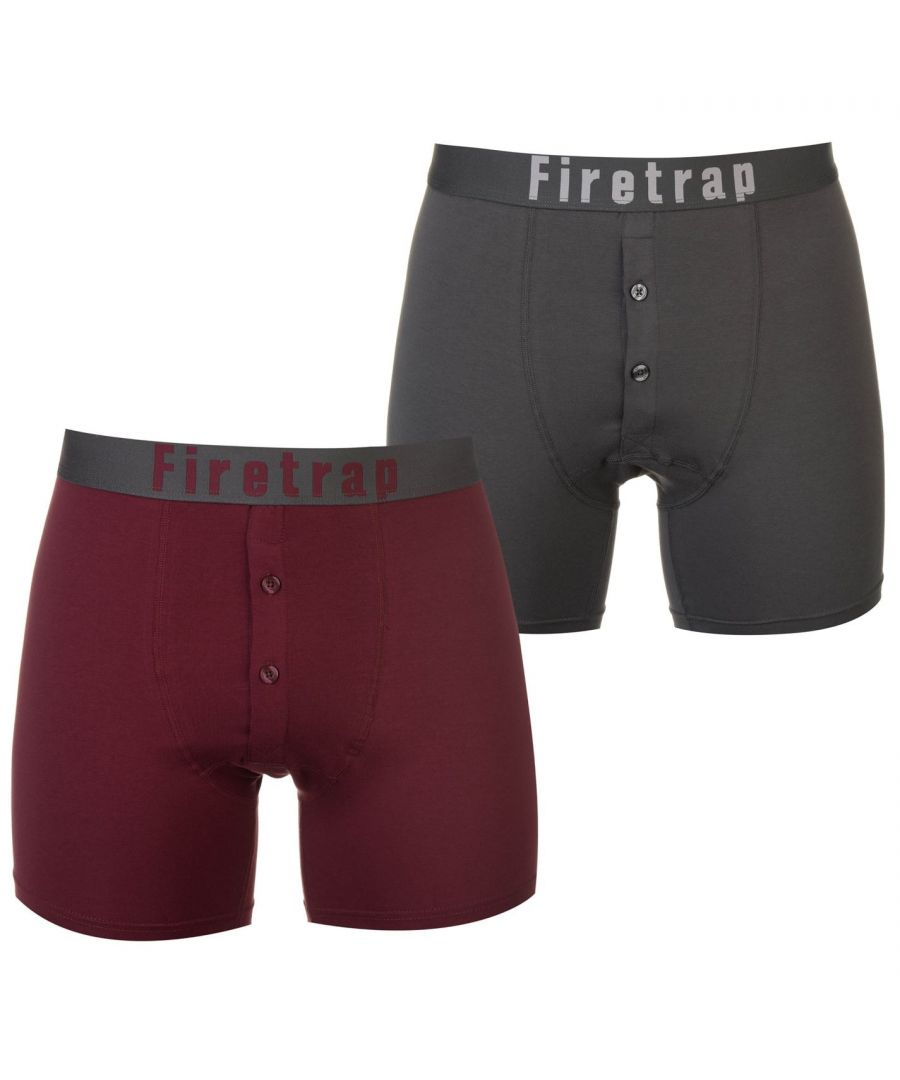 Image for Firetrap Mens 2 Pack Boxers Underwear Stripe Elasticated Waistband Comfortable