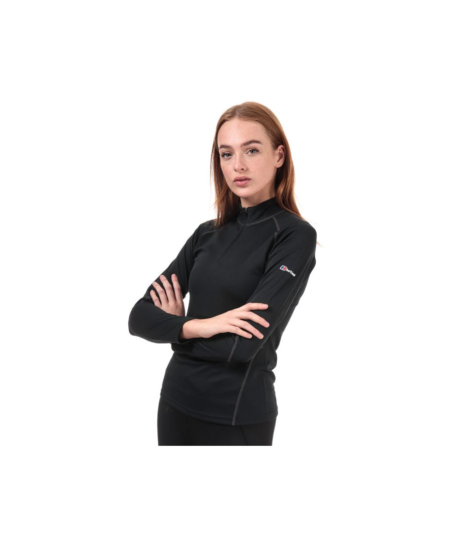 Image for Women's Berghaus Long Sleeve Zip Neck 2.0 T-Shirt in Black