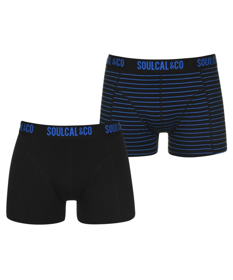 Image for SoulCal Mens 2 Pack Boxers Trunks Underwear Soft Comfortable Stretch Briefs