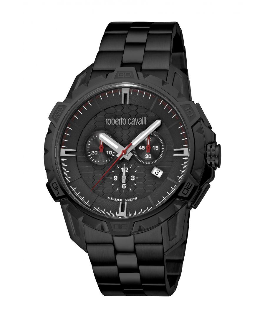 Image for Roberto Cavalli Mens RC-83 Black Dial IP Black Bracelet Watch