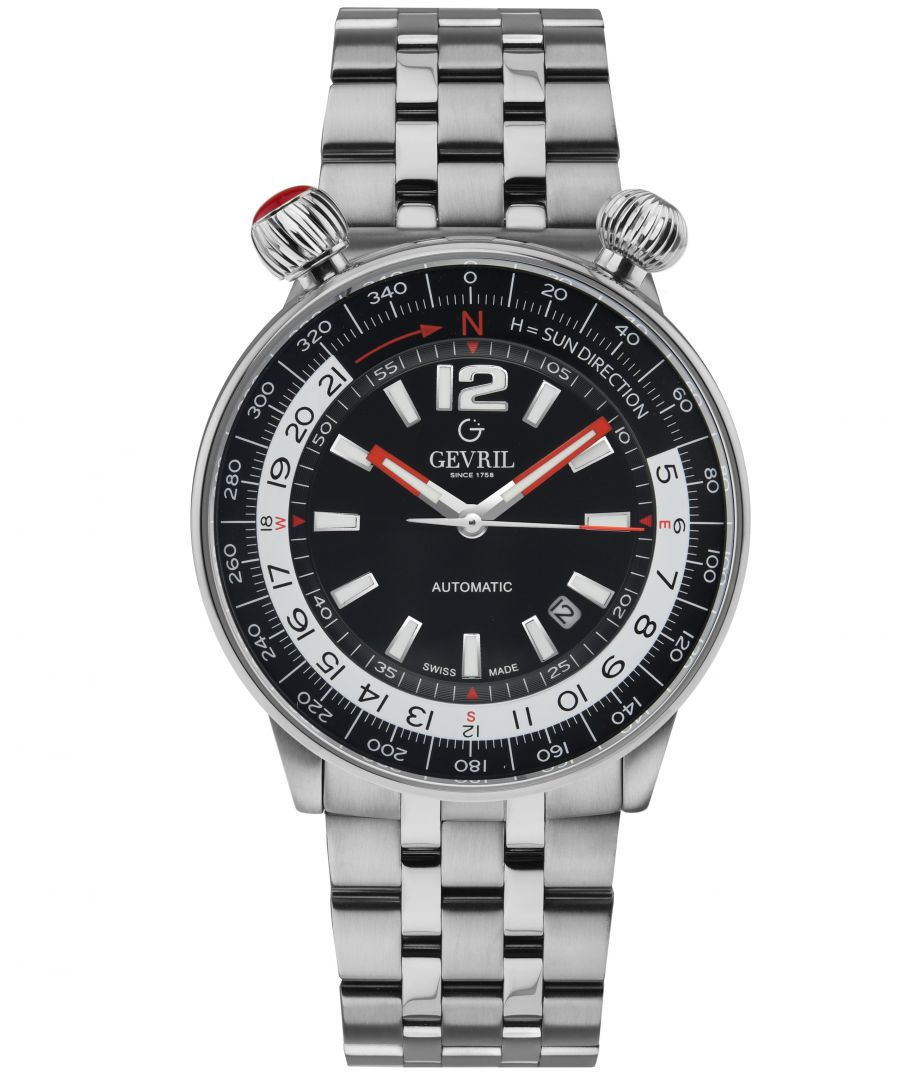 Image for Gevril Mens Wallabout Black Dial Stainless Steel Watch