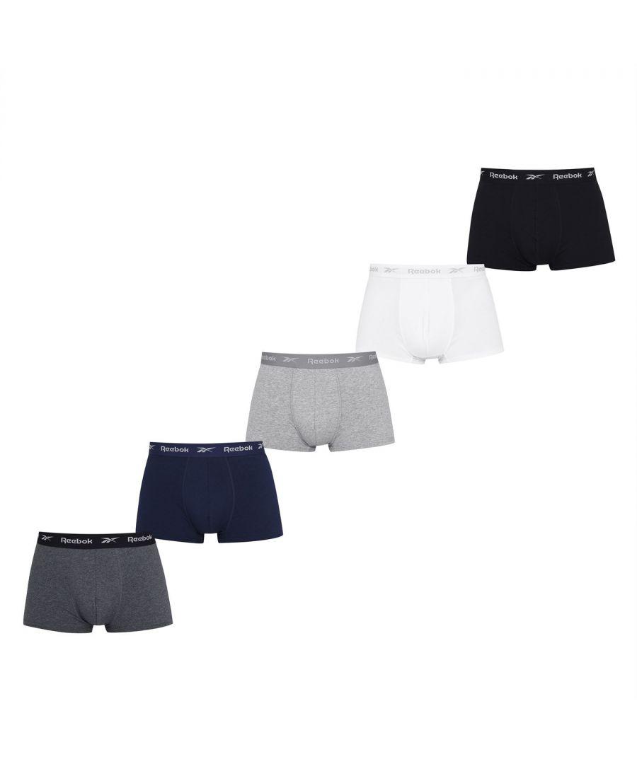 Image for Reebok Mens 5 Pack Trunks Lightweight Boxer Brief Soft Fabric Comfort Underwear