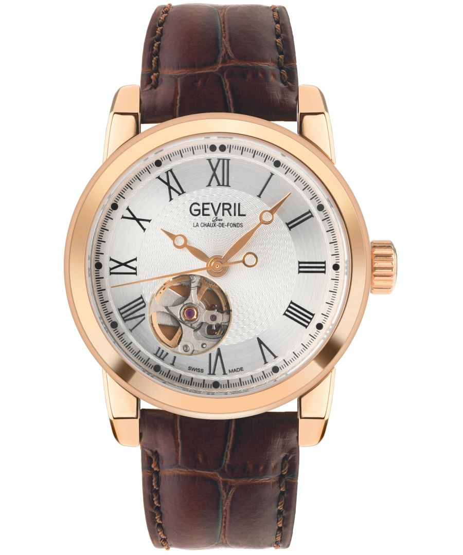 Image for Gevril Mens Madison IPRG Silver Dial Brown Leather