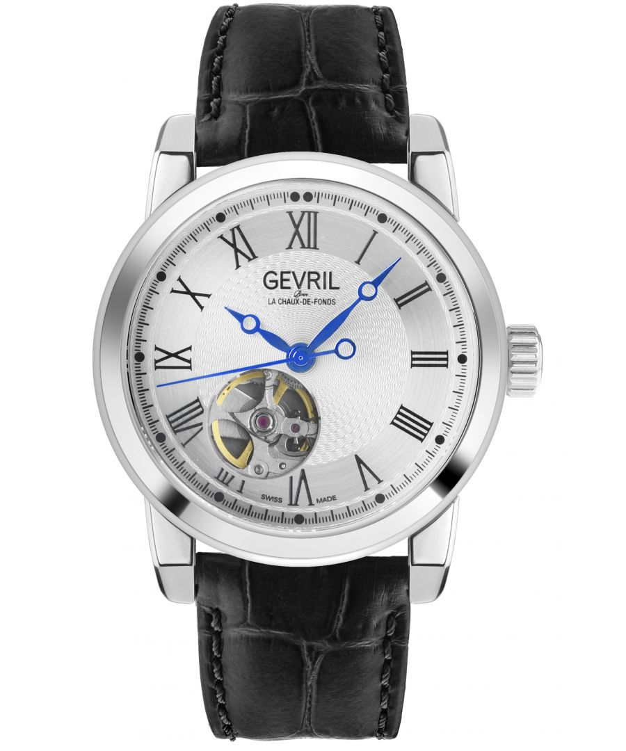 Image for Gevril Mens Madison SS Silver Dial Black Leather
