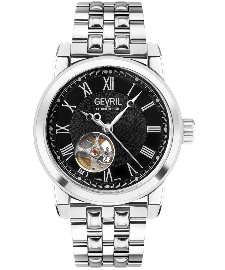 Image for Gevril Mens Madison SS Black Dial SS Band