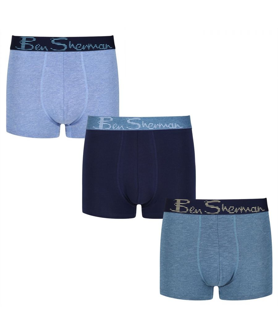 Image for Ben Sherman Mens Zachary Trunk Briefs Elasticated Waistband Underwear 3 Pack