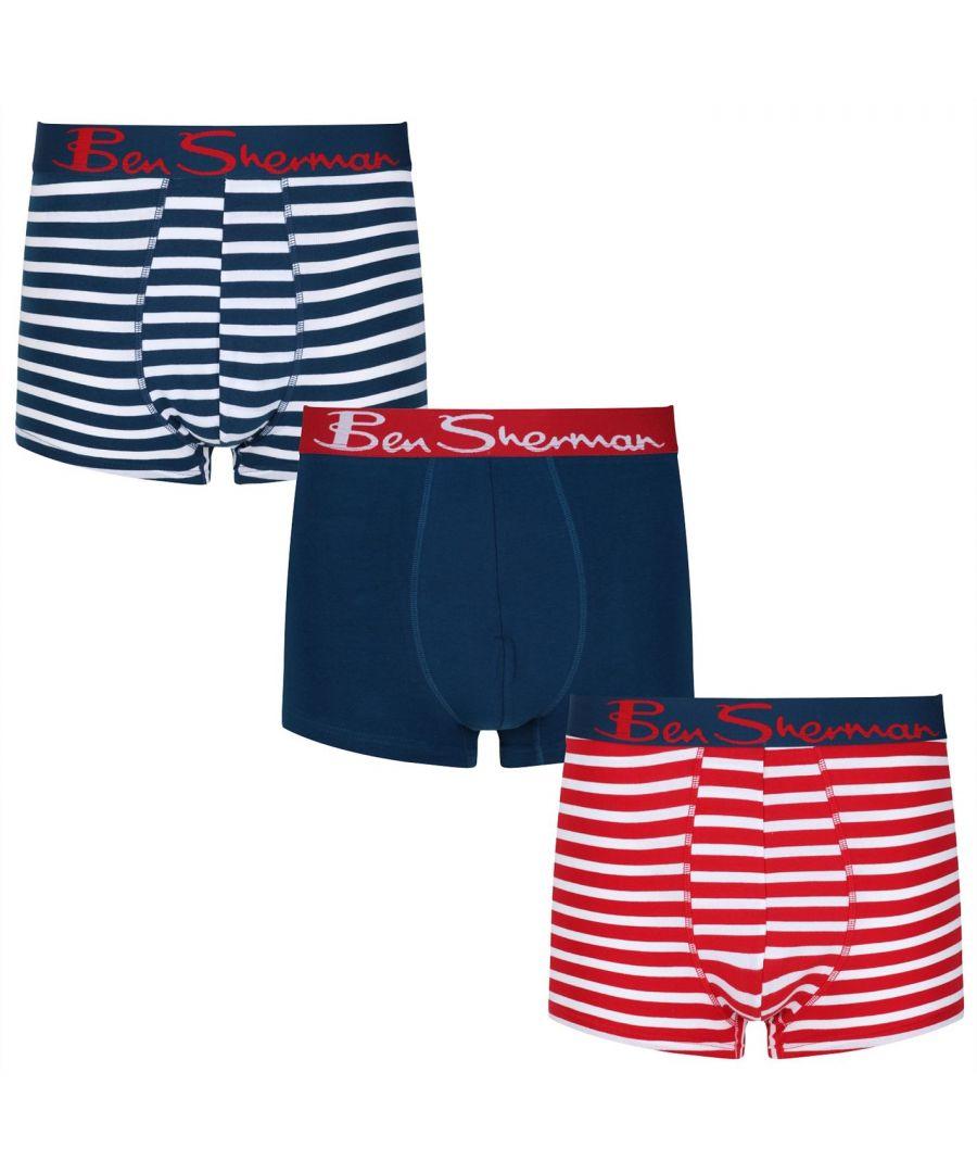 Image for Ben Sherman Mens Camden Trunk Briefs Elasticated Waistband Underwear 3 Pack
