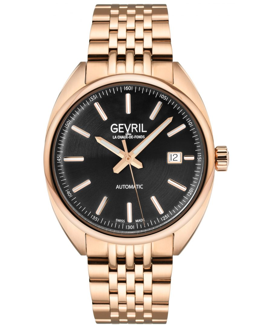 Image for Gevril Mens Five Points Black Dial Rose gold watch
