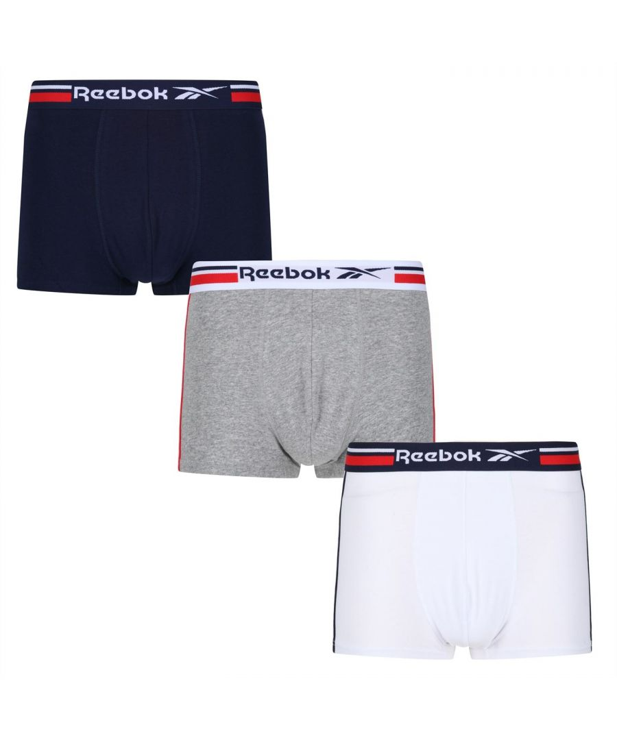 Image for Reebok Mens 3 Pack Jager Boxers Briefs Elasticated Waistband Underwear