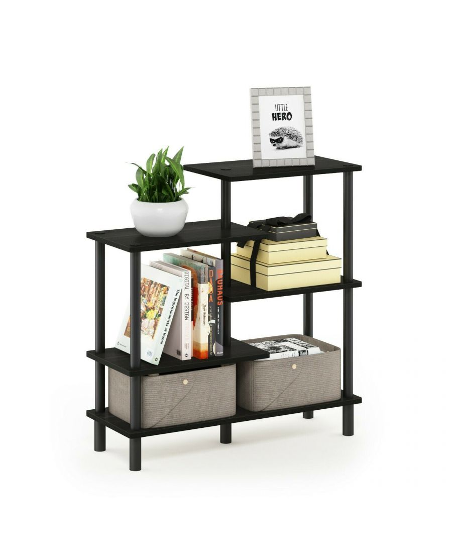 Image for Furinno Turn-N-Tube 5-Tier Accent Display Rack, Espresso/Black