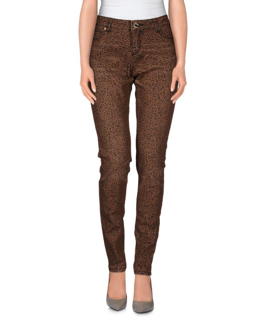 Image for Nenette Khaki Leopard Design Cotton Slim Fit Jeans