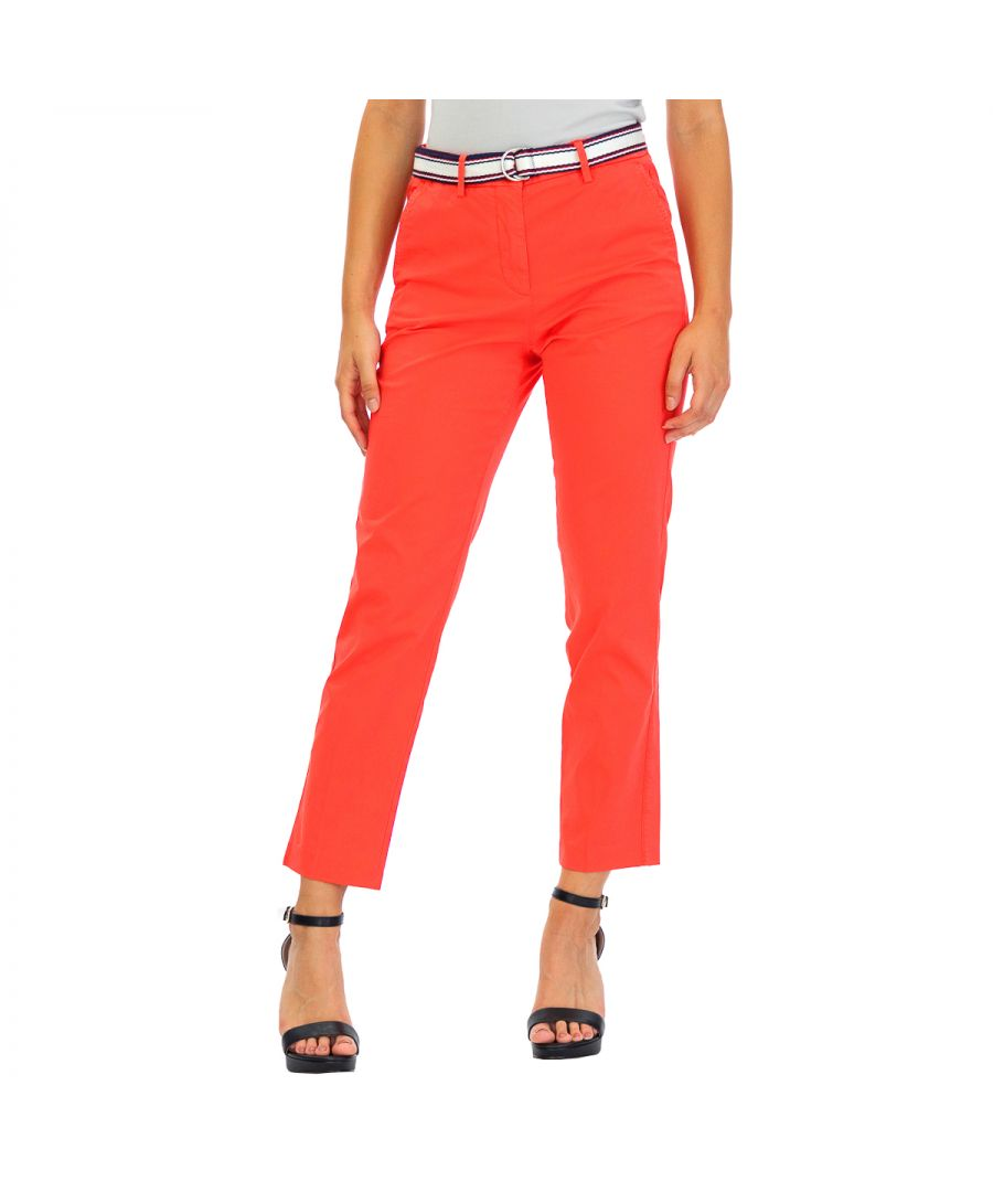 Image for Tommy Hilfiger Women's Pants Tencel Ankle Length Red