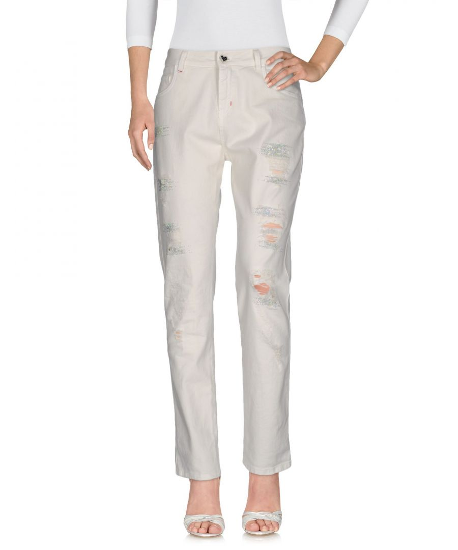 Image for Twin-Set Jeans Ivory Cotton Straight Leg Jeans